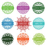 Set of typographic elements, spirograph labels, frames and ornaments Royalty Free Stock Photo