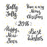 Set of Typographical Backgrounds. Happy New Year Stock Photo