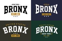 Set typography design Bronx t-shirt graphic vector Stock Photo