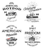 Set of typography logo of car, truck and motorcycle. Stock Images