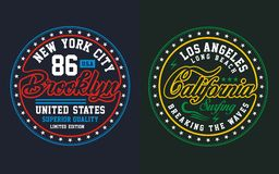 Set college brooklyn with california, vectors. Set college brooklyn with california , screen printing vector easy on color separation, t shirt , poster festival Royalty Free Stock Images