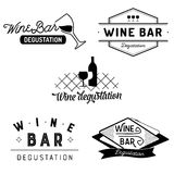 Set of typography wine bar and degustation badges Royalty Free Stock Images