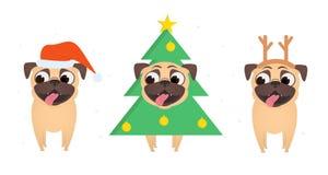 Set uśmiechnięci mopsy ubiera w górę boże narodzenie kostiumu Santa, xmas drzewo i boże narodzenia jeleni w, royalty ilustracja