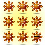 Set Uśmiechnięci słońca Zdjęcia Royalty Free