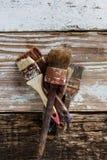 Set używać muśnięcia na drewnianej powierzchni z, retro, i roczniku, kopii przestrzeń Obraz Stock