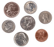 Set of U.S. Coins Royalty Free Stock Photos