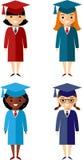 Set uczeń różne narodowości w skalowania mortarboard i todze Zdjęcie Stock