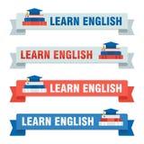 Set uczy się angielskich baners Fotografia Royalty Free