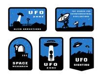 Set Ufology and space searches. Emblem, logo. Ufology and space searches. Emblem logo vector illustration