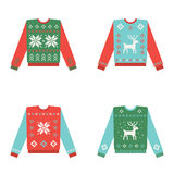 Set of ugly christmas sweaters with winter pattern Stock Photo
