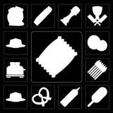 Set układy scaleni, lody, musztarda, precel, pudding, asparagus, T ilustracja wektor
