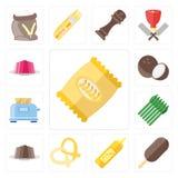 Set układy scaleni, lody, musztarda, precel, pudding, asparagus, T ilustracji