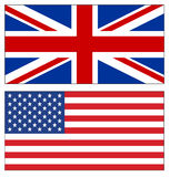 Set of UK and USA flags on white Royalty Free Stock Photography