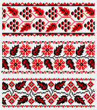 Set of Ukrainian ethnic embroidery. Ethnic patterns for embroidery stitch in red and black Stock Photography