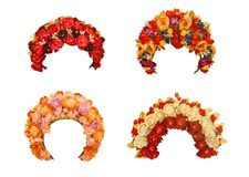 Set wedding wreath of Ukrainian women  on a white background iso Royalty Free Stock Images