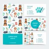 Set ulotka, broszurka i wizytówki dla zwierzęcy przygotowywać, opieki zwierzęcia domowego veterinary Set promocyjni produkty Płas Obrazy Stock