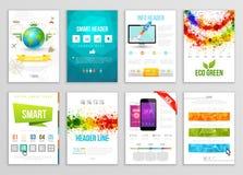 Set ulotka, broszurka, tło, sztandarów projekty Wektorowi Plakatowi szablony Farba Bryzga Abstrakcjonistycznego tło dla wizytówki Zdjęcie Stock