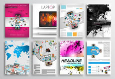Set ulotka projekt, Infographics układ, broszurka projekty Obraz Royalty Free