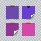 Set of ultra violet color sheets of note memo paper. Isolated on transparent background. Realistic vector illustration. Curl corner Stock Images