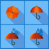 Set with umbrella icons. Royalty Free Stock Images