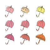 Set of umbrellas drawn felt pen imitation. Romantic colorful umbrellas. Set of umbrellas drawn felt pen imitation. Romantic colorful umbrellas vector pattern royalty free illustration