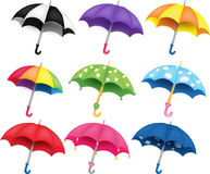 Set of umbrellas. Set of nine different colored umbrellas Stock Image
