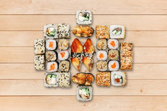 Set of unagi sushi and rolls at wood. Stock Photo