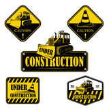 Set of under construction emblems, labels and Stock Photography