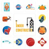 Set of under construction, fire station, cricket ball, sagittarius, fish skeleton, bengal tiger, french bulldog, howling wolf, ant. Set Of 13 simple editable Royalty Free Stock Photography