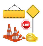 Set of Under Construction Sign Materials Stock Images