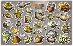 Set of underwater life cartoon stickers Stock Photos