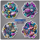 Set of underwater life cartoon stickers. Vector doodle objects and symbols collection. Label design elements. Cute patches, pins, badges series. Comic style Royalty Free Stock Photos
