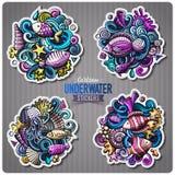 Set of underwater life cartoon stickers Royalty Free Stock Photos
