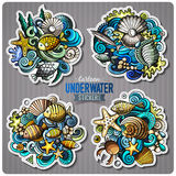Set of underwater life cartoon stickers. Vector doodle objects and symbols collection. Label design elements. Cute patches, pins, badges series. Comic style Royalty Free Stock Photo