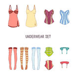 Set of underwear. Colored stockings, corsets Royalty Free Stock Photography