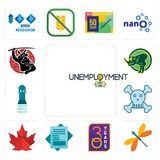 Set of unemployment, dragonfly, 30 year, statement, canada leaf, skull and crossbones, girls bathroom, rhino, icons. Set Of 13 simple  icons such as unemployment Stock Photo