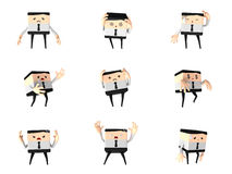 Set of unhappy office and business man, 3d cute ca Stock Image