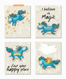 Set of Unicorn cards. Childish background with cartoon character. Royalty Free Stock Photo
