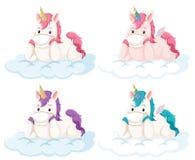 Set of unicorn on cloud vector illustration