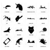 Set of unicorn head, montana, cell phone, wolf face, hippo, maryland, ant, pennsylvania state, chameleon icons. Set Of 16 simple editable icons such as unicorn Stock Photos