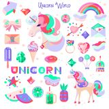 Set with a unicorn and pictures for stickers. Unicorn`s head with closed eyes. Diamonds and crystals. Rainbow, cloud and heart. A Stock Photography