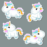 Set of unicorn stickers. Collection cartoon unicorn stickers. Unicorns made in cartoon style stock illustration