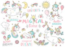 Set of unicorns and other magic elements. Set of unicorns and different magic elements with some lettering. Vector illustration Stock Images