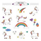 Set of unicorns with rainbow, stars, diamond and other elements royalty free illustration