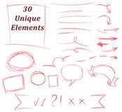 Set 30 Unikalnych ołówkowego rysunku elementów: rozkwita, uderzenia, linie, strzała, znaki, tekstów tereny, struktury ilustracji