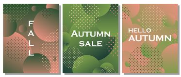 The set of unique autumn geometric background with gradient shapes. The abstract background is suitable for typographic products, web-design, and decoration of Royalty Free Stock Photography