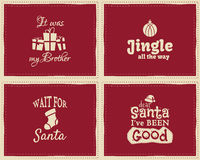 Set of unique Christmas funny signs, quotes. Backgrounds designs for kids - jingle all the way. Nice retro palette. Red and white colors. Can be use as flyer Royalty Free Stock Photo