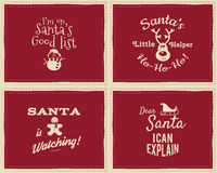 Set of unique Christmas funny signs, quotes. Backgrounds designs for kids - Santa i can explain. Nice retro palette. Red and white colors. Can be use as flyer Royalty Free Stock Photos
