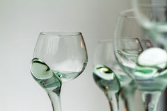 Set of Unique Green Glass Wine Glasses Royalty Free Stock Photos