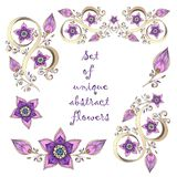 Set of unique hand-drawn abstract floral elements. Stock Images